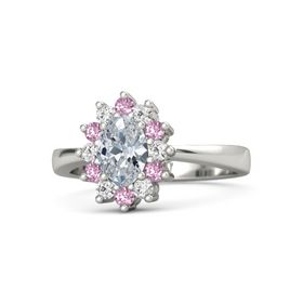 Oval Diamond Palladium Ring with White Sapphire and Pink Sapphire