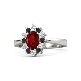 Oval Ruby Palladium Ring with Black Diamond and White Sapphire