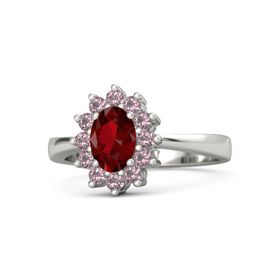 Oval Ruby Palladium Ring with Rhodolite Garnet