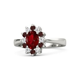 Oval Ruby Palladium Ring with White Sapphire and Red Garnet