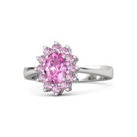 Oval Pink Sapphire Sterling Silver Ring with Pink Sapphire