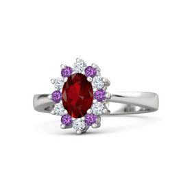 Oval Ruby Sterling Silver Ring with Amethyst & Diamond