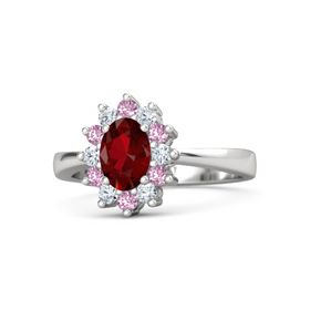 Oval Ruby Sterling Silver Ring with Diamond and Pink Sapphire