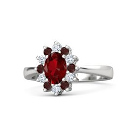 Oval Ruby Sterling Silver Ring with Red Garnet and Diamond