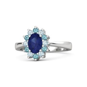 Oval Blue Sapphire Sterling Silver Ring with Aquamarine and London Blue Topaz