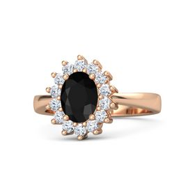 Oval Black Onyx 14K Rose Gold Ring with Diamond