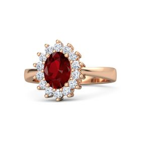 Oval Ruby 14K Rose Gold Ring with Diamond