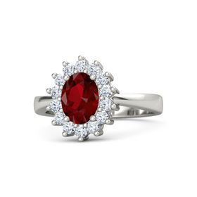 Oval Ruby 14K White Gold Ring with Diamond