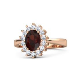 Oval Red Garnet 18K Rose Gold Ring with Diamond