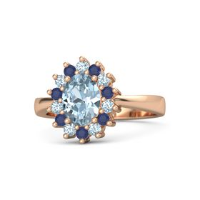 Oval Aquamarine 18K Rose Gold Ring with Aquamarine and Blue Sapphire