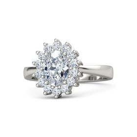 Oval Diamond Palladium Ring with Diamond