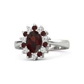 Oval Red Garnet Palladium Ring with Red Garnet and White Sapphire