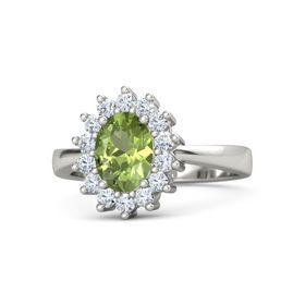 Oval Peridot Platinum Ring with Diamond