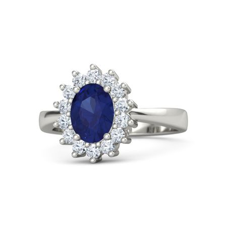 01a2c70fb Oval Blue Sapphire 14K White Gold Ring with Diamond | Diana Ring ...