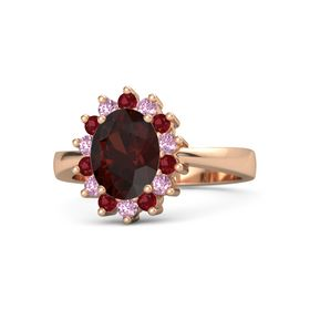 Oval Red Garnet 14K Rose Gold Ring with Ruby and Pink Sapphire