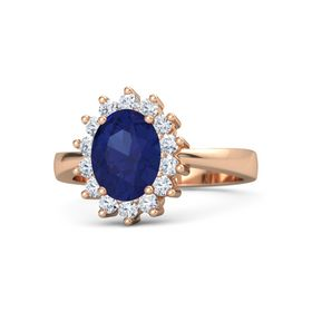 Oval Blue Sapphire 14K Rose Gold Ring with Diamond