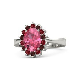 Oval Pink Tourmaline 14K White Gold Ring with Ruby and Red Garnet
