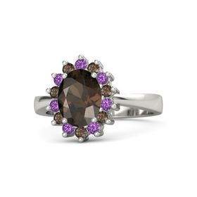 Oval Smoky Quartz 14K White Gold Ring with Amethyst and Smoky Quartz