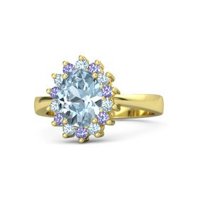 Oval Aquamarine 14K Yellow Gold Ring with Aquamarine and Iolite