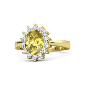 Oval Yellow Sapphire 14K Yellow Gold Ring with Diamond