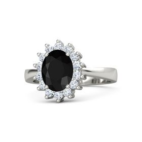 Oval Black Onyx 18K White Gold Ring with Diamond