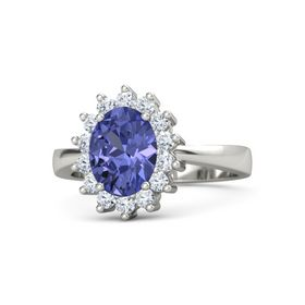 Oval Tanzanite 18K White Gold Ring with Diamond