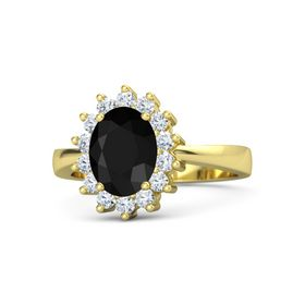 Oval Black Onyx 18K Yellow Gold Ring with Diamond