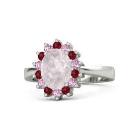 Oval Rose Quartz Platinum Ring with Ruby and Pink Sapphire