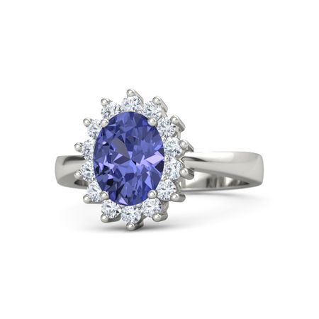 diamond simon g gold halo tanzanite ring large style white oval grande products