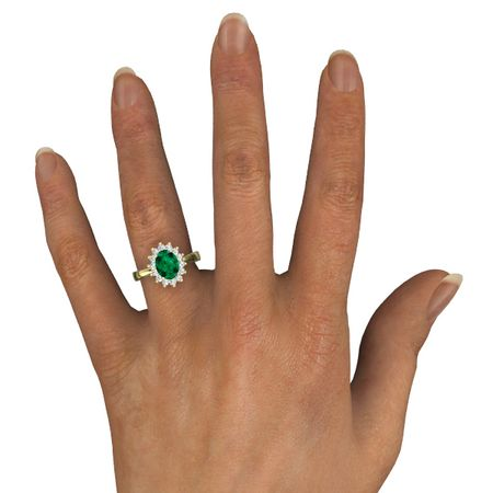 Oval Emerald 14K Yellow Gold Ring with Diamond Diana Ring