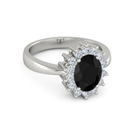 Oval Black yx 14K White Gold Ring with Diamond