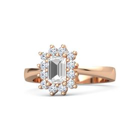 Emerald-Cut Rock Crystal 14K Rose Gold Ring with Diamond