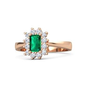 Emerald-Cut Emerald 14K Rose Gold Ring with Diamond