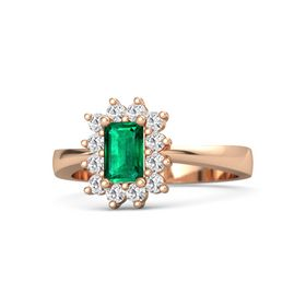 Emerald Emerald 14K Rose Gold Ring with White Sapphire