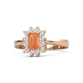Emerald-Cut Fire Opal 14K Rose Gold Ring with White Sapphire