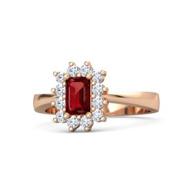 Emerald-Cut Ruby 14K Rose Gold Ring with Diamond