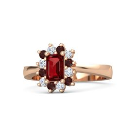 Emerald Ruby 14K Rose Gold Ring with Red Garnet and Diamond