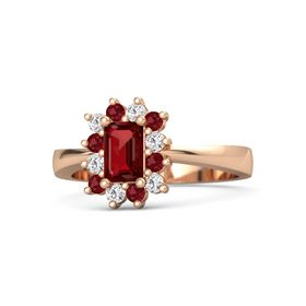 Emerald-Cut Ruby 14K Rose Gold Ring with White Sapphire & Ruby