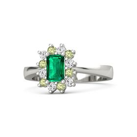 Emerald Emerald 14K White Gold Ring with White Sapphire and Peridot