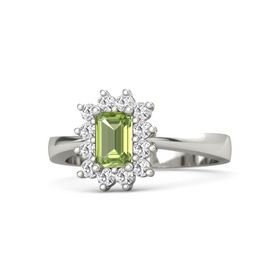 Emerald-Cut Peridot 14K White Gold Ring with White Sapphire