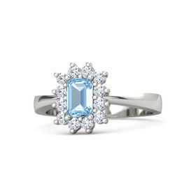 Emerald-Cut Blue Topaz 14K White Gold Ring with Diamond