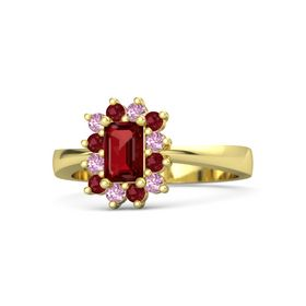 Emerald Ruby 14K Yellow Gold Ring with Pink Sapphire and Ruby