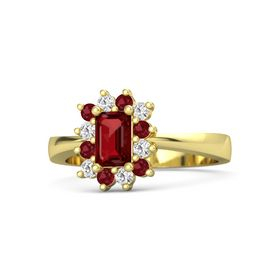 Emerald-Cut Ruby 14K Yellow Gold Ring with Ruby & White Sapphire
