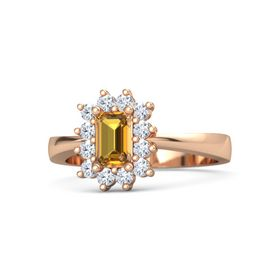 Emerald-Cut Citrine 18K Rose Gold Ring with Diamond