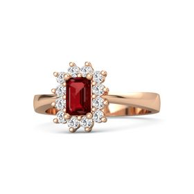 Emerald Ruby 18K Rose Gold Ring with White Sapphire