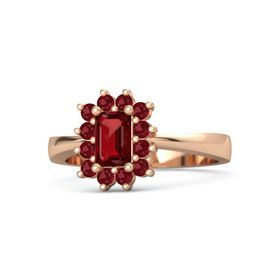 Emerald-Cut Ruby 18K Rose Gold Ring with Ruby