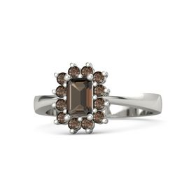 Emerald Smoky Quartz 18K White Gold Ring with Smoky Quartz