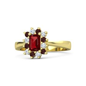 Emerald Ruby 18K Yellow Gold Ring with Red Garnet and Diamond
