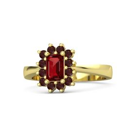 Emerald Ruby 18K Yellow Gold Ring with Red Garnet