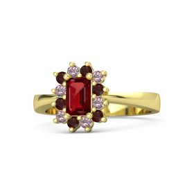 Emerald Ruby 18K Yellow Gold Ring with Red Garnet and Rhodolite Garnet